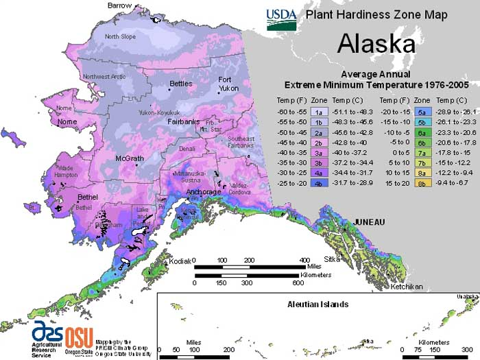 This is the USDA Plant Hardiness Zone Map for Alaska (2012), provided by the Agricultural Research Service.