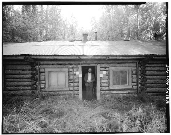 Sullivan Roadhouse - North front section with the doorway, from the 1982 Historic American Buildings Survey.